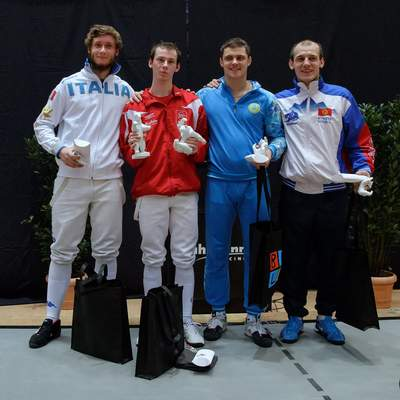 Die Finalisten L. Buzzi (ITA), F. v.d. Osten (DEN), D. Alexanin (KAZ), R. Petrov (KGZ)